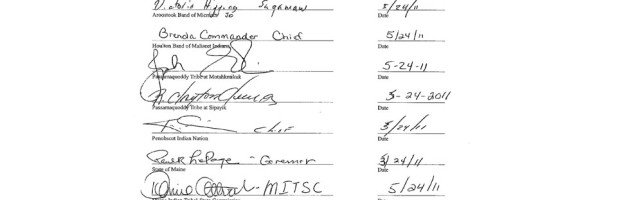 Photo of the actual signatures from the Declaration of Intent
