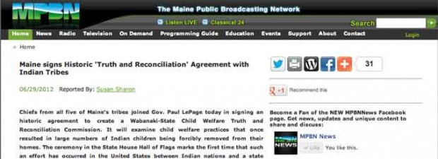 MPBN: Maine signs TRC story image